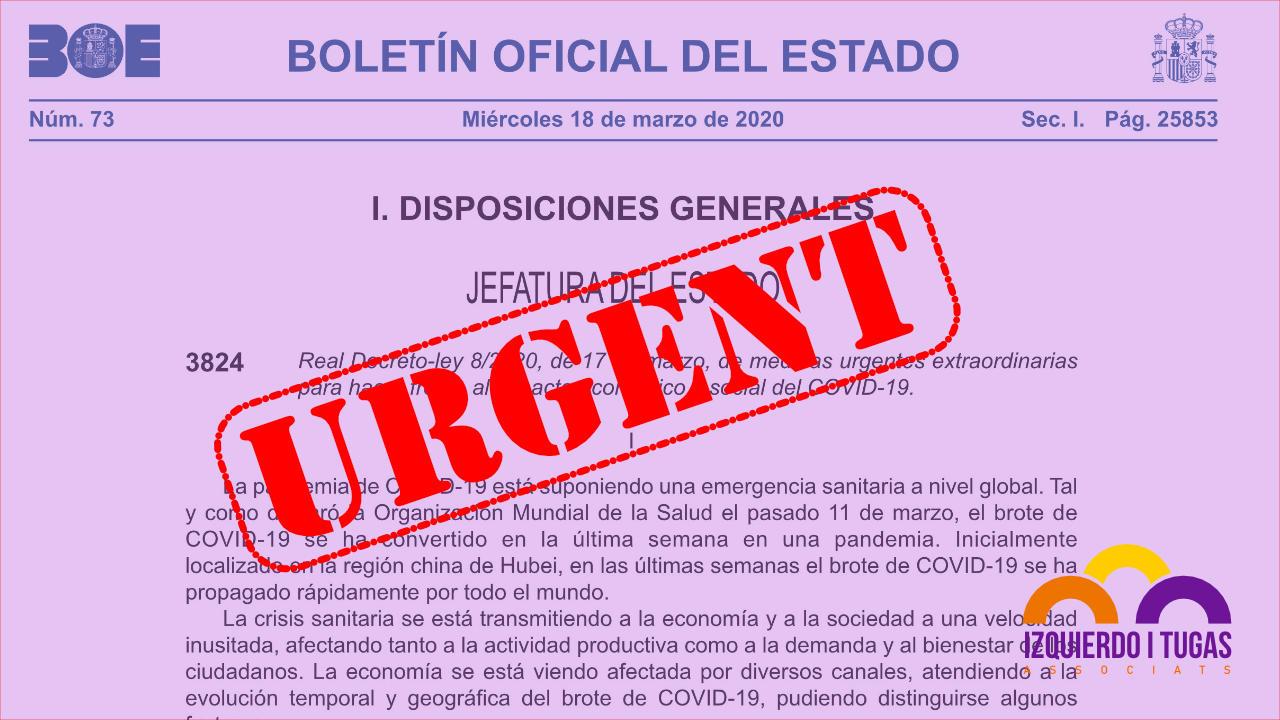 Medidas económicas urgentes coronavirus - Izquierdo i Tugas Associats - Gestoria Izquierdo en Gavà