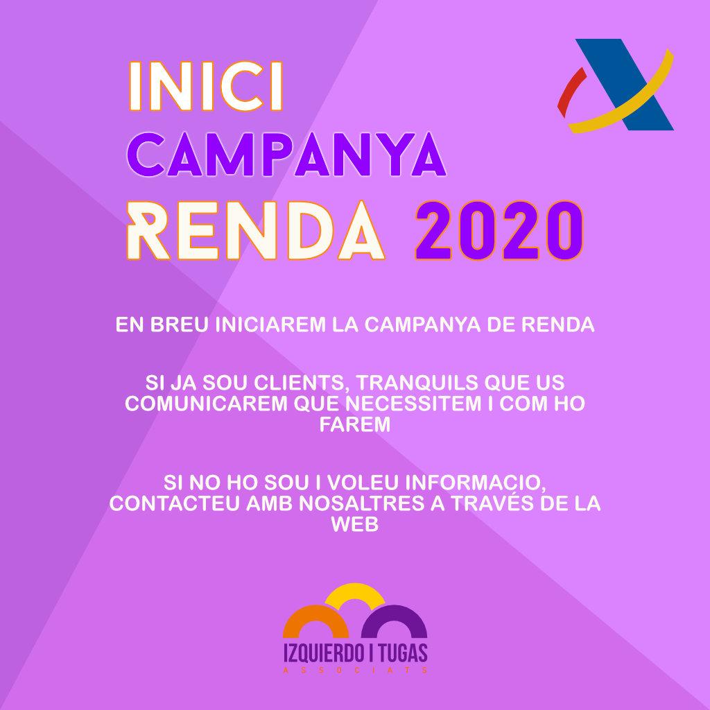 Campanya Renda 2020 - Gestoria Izquierdo - Izquierdo i Tugas Associats